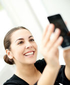 Happy young woman posing for a selfie — Stock Photo