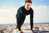 Male Surfer in Proper Pop up Balance on Surfboard — Stock Photo