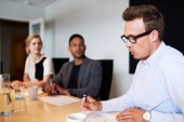 White male executive presenting during meeting — Stock Photo