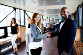 Female executive and male executive shaking hands in office hallway — Stock Photo