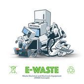 E-waste Pile — Stock Vector