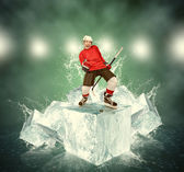 Screaming hockey player — Stock Photo