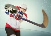 Hockey puck hit the opponent visor — Stock Photo
