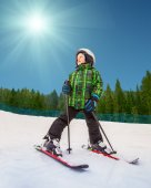 Little skier in mountain sky resort — Stock Photo