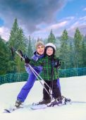 Mother with son on the mountain sky resort — Foto Stock
