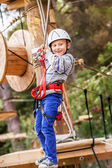 Boy in the rope park — Stock Photo