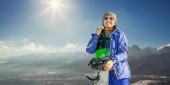 Žena s snowboardu — Stock fotografie