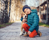 Little boy with beagle — Stock Photo