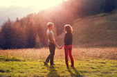 Two inlove on the  forest glade — Stock Photo