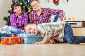 Boy get a christmas gift from Santa — Foto Stock