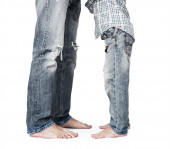 Son and father legs in jeans — Stock Photo