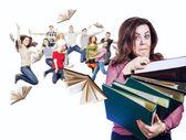 Mad faced teacher with folders — Foto de Stock