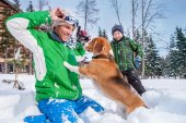 Father with son and dog — Stock Photo