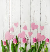 Tulips with pink  hearts — Stock Photo