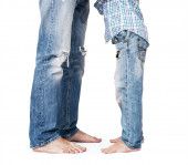 Son and father legs — Stock Photo