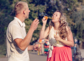 Couple  with Soap bubbles — Stock Photo