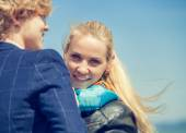 Portrait young couple at seaside — Stock Photo