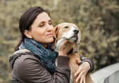 Woman with dog portrait — Stock Photo
