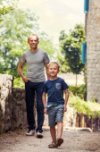 Little boy with  father  on walk — Stock Photo