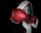 Little boy in red boxing gloves — Stock Photo