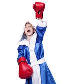 Šťastný, křičí malý boxer — Stock fotografie