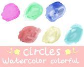 Six watercolor colorful circles — Stock Vector