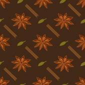 Spices seamless pattern. Star anise, cardamon, cinnamon stick — Stock Vector