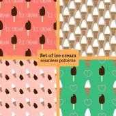 Ice cream seamless pattern set — Stock Vector