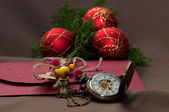 Christmas time, christmas balls and clock. Letter — Foto Stock
