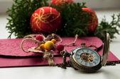 Christmas time, christmas balls and clock. Letter — ストック写真