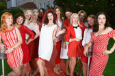 Hen party: white and red — Stock Photo
