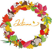 Beautiful colorful autumn wreath which consists of leaves, mushrooms, branches, cones and berries can be used as a card or greeting card — Stock Vector