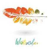 Watercolor natural leaf made in the original technique — Stock Vector
