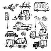 Baby cars set. funny baby toys. vector doodle collection — Stock Vector