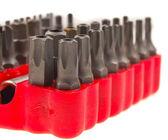 Srew Bit Set in red  organizer — Foto Stock