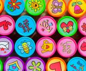 Stamp Collection in Many Vibrant Colors — Stockfoto