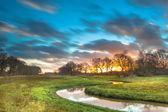 Orange Sunset over River Valley — Stock Photo