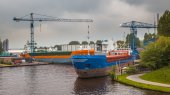 Inland Navigation Ships in a Harbor — Stock Photo