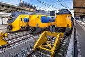 Three modern trains waiting at station — Stock Photo