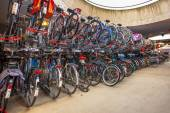 Parked bicycles at central station — Stock Photo