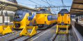 Three Fast Intercity Commuter Trains waiting at a station — Stock Photo