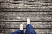 White foot on shoes from an aerial view — Foto Stock