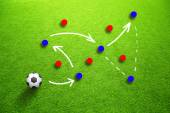 Soccer strategy game plan with players and ball — Stock Photo