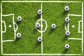 Soccer field with balls — Stock Photo
