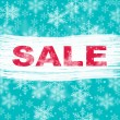 Blue winter sale with snowflake background — Stock Photo #79345034