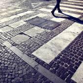Pedestrian city road crossing — Stock Photo