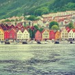 Bryggen in Bergen, Norway . Vintage picture — Stock Photo #72648921