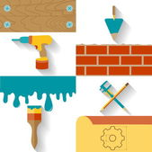 Set of conceptual icons for the design, construction and finishing works. Flat design vector illustration. — ストックベクタ
