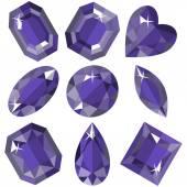 Set of sparkling amethyst of various shapes. Vector illustration. — Vector de stock
