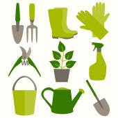 Flat design set of gardening tool icons isolated on white background. — Stock Vector